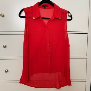 Sheer red button down tank
